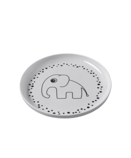 don bu deer yummu plate happy dots grey